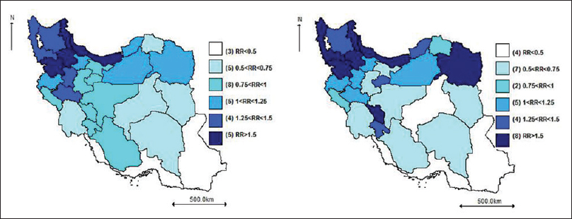 Figure 3: Unadjusted relative risk of gastric cancer in Iran for males and females in 2010